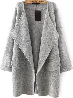 Fall Fashion Grey Lapel Long Sleeve Loose Sweater Coat