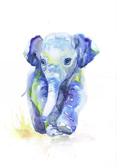Baby Elephant Art Watercolor Painting Baby Boy Nursery by ValrArt