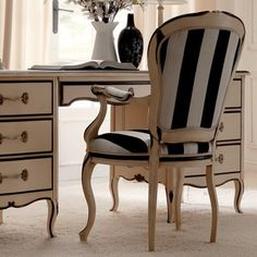 Reproduction Ivory and Black Italian Desk