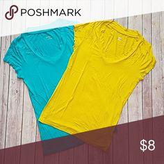 Merona t-shirt bundle Mustard yellow and teal.  Very stretchy. Cute! Merona Tops Tees - Short Sleeve