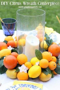 Make a vibrant and fresh faux DIY Citrus Wreath Centerpiece for your summer parties. This easy craft project will brighten up an dinner party. Easy Craft Projects, Diy Crafts For Kids, Easy Crafts, Craft Ideas, Creative Party Ideas, Creative Crafts, Summer Parties, Summer Bash, Spring Party