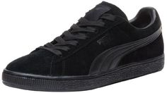 PUMA Suede Classic LFS Lace-Up Fashion Sneaker,Black/Black,9.5 US/11 D US. Foam-padded collar and tongue. Low-profile and casual, this skate-inspired look is a PUMA classic. Sizes listed are in U.S.Men's. Retro-look sneaker with PUMA Formstrip logo and wide, stable midsole. 9.5 D(M) US. Please see Sizing Info for unisex conversion. Item dimensions: 81 - 400 - 700 - 1100 - hundredths-inches. Perforated midfoot detailing.