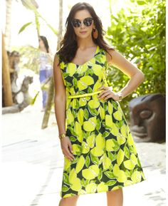 Lemon Print Dress at Simply Be- Great Plus Size dupe for Kate Spade Sp 14 Line !