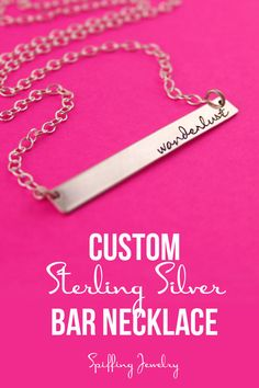 Personalize this bar necklace with a name, word or short phrase. A perfect bridesmaid's gift! - Spiffing Jewelry