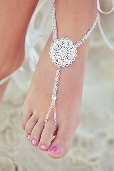 Foot jewelry barefoot sandals barefoot by PassionflowerJewelry