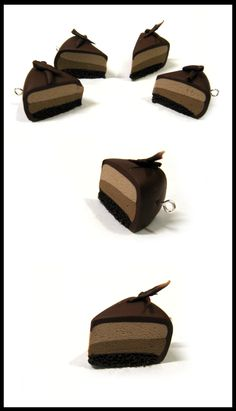Polymer Clay - Chocolate Mousse Cake charms by Kai-ni.deviantart.com on @deviantART