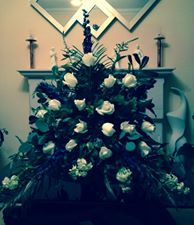 a pedestal arrangement for the church I made for a wedding in May