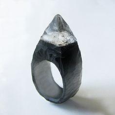 Black Spiked Stud Hand Carved Resin Ring. $60.00, via Etsy.