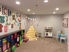 PLAY ROOM- boy and girl playroom idea- theme- alphabet wall idea- reading tent- toy storage – OOH LAH LAH DESIGNS Playroom, Kids Room, Room Decor, Game Room Kids, Room Kids, Game Room, Kids Rooms Decor, Game Rooms, Kid Rooms