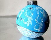 Winter Blue & Flowers Small Ornament Hand painted