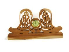 Decorate your desk with this western style cowboy boot mini desk clock. -- Handmade From Cherry Wood by KevsKrafts