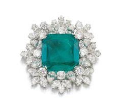 Emerald and diamond brooch weighing 27.57 carats, Bulgari, 1964