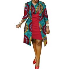 African cotton wax Print Dress and Suit Coat for Women - African Fashion Dresses African Fashion Designers, African Fashion Ankara, Latest African Fashion Dresses, African Print Fashion, Africa Fashion, African Women Fashion, African Style, Short African Dresses, African Print Dresses