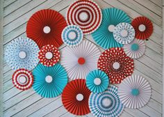 Set of Seventeen Vintage Circus Inspired Paper Rosettes, Paper Fans Backdrop via Etsy only in red and yellow Circus Theme Party, Circus Birthday, 1st Birthday Parties, Prom Themes, Carnival Themes, Vintage Circus, Vintage Paper, Vintage Carnival, Paper Rosettes