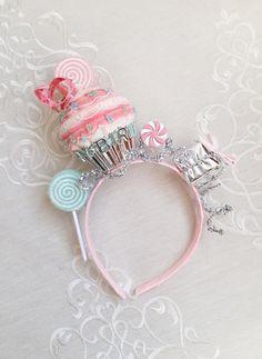 birthday headband adult, adult party hats, cupcake headband, pink birthday hat, pink and silver headband, birthday party hats, birthday hair