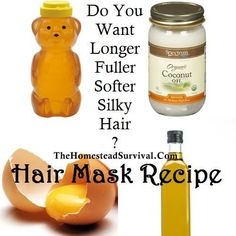 http://thehomesteadsurvival.com/hair-mask-recipe-longer-fullersofter-silky-hair/#.UgRovVfHa3g   Hair Mask Recipe – Longer Fuller Softer Silky Hair   Long, glorious, beautiful, shiny hair…isn't that every woman's dream at one point or another ?
