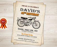 Invitación del cumpleaños de la motocicleta. Cafe Racer moto 40 invitación de fiesta de cumpleaños para los hombres. Vintage. 40 retro invitación de cumpleaños 50