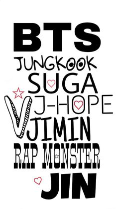 BTS || Bangtan Boys || Members name || Jin || Suga || J-hope || Rap Monster || Jimin || V || Jungkook || Wallpaper