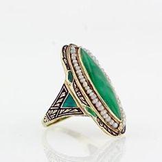 Navette Jadeite Art Deco Ring by shauna