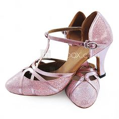 Now we're talking- sparkly rose-colored ballroom shoes