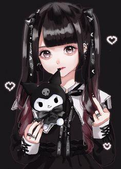 Gothic Anime Girl, Anime Angel Girl, Dark Anime Girl, Manga Anime Girl, Anime Girl Drawings, Anime Couples Drawings, Anime Neko, Kawaii Drawings, Cute Anime Pics