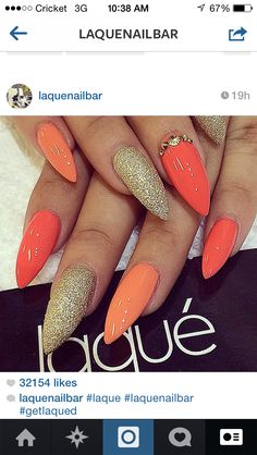 Orange and gold nails