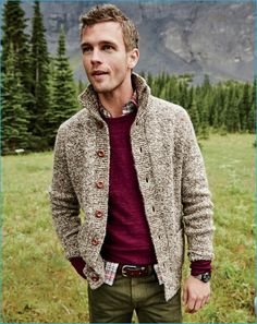 Men's Burgundy Crew-neck Sweater, Beige Knit Cardigan, Multi colored Plaid Long Sleeve Shirt, Olive Chinos | Men's Fashion