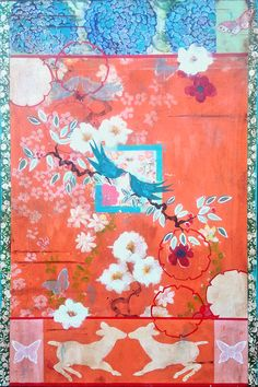 """Kathe Fraga paintings, inspired by the romance of vintage Paris and Chinoiserie Ancienne. """"Welcoming Spring: Love Notes"""", 24x36 on aged frescoed panel. www.kathefraga.com"""