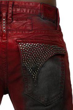 a3957575f5e Long Flap Black Diamond Swarovski Irene Red Denim (Robin s Jean) at  PureAtlanta.com