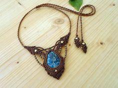 Azurite macrame necklace macrame choker azurite jewelry