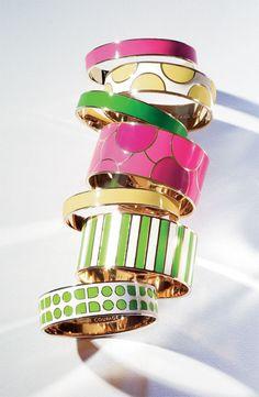 Kate Spade bangles. Enamel and gold plated metal http://www.katespade.com/designer-jewelry/jewelry,default,sc.html