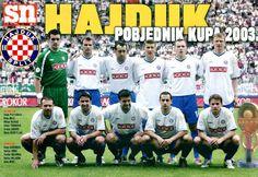 EQUIPOS DE FÚTBOL: HAJDUK SPLIT Campeón de la Copa de Croacia 2003 Hnk Hajduk Split, Soccer, Baseball Cards, Breakfast Nook, World, Team Building, Football Team, Croatia, Champs