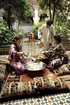 Moroccan tea time. Beautiful cushions