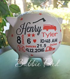 Personalized piggy bank baby girl piggy bank baby girl gift piggy firefighter piggy bank firefighter baby gift fireman baby gift personalized piggy bank custom baby girlboy gift custom gift for baby negle Choice Image