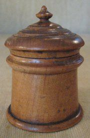 "Late 19th Century American (Ohio) Miniature Peaseware turned treen (maple) cylindrical form container. It stands approximately 2-3/4"" tall to the top of the finial and retains the original finish. The miniature size makes this a desirable piece."