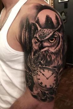 Nice black and grey tattoo works of Owl and Watch motive, done by tattoo artist Alex Bruz Owl Forearm Tattoo, Owl Eye Tattoo, Mens Owl Tattoo, Grey Tattoo, Owl Tattoos, Popular Tattoos, Trendy Tattoos, Tattoos For Guys, Tattoo Designs For Girls