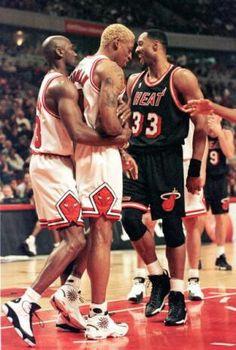 Michael Jordan, Dennis Rodman and Alonzo Mourning (Miami Heat)