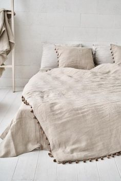 Luxury sheet selection and find out beautiful fiber bedding sets, sheet sets, bed linen, quilts, & shams. Boho Bedding, Linen Bedding, Bed Linens, Boho Pillows, Linen Bedroom, Bedroom Decor, Bedroom Ideas, Master Suite, Master Bedroom