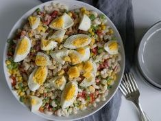 makaronisalat Cobb Salad, Barbecue, Vegetarian Recipes, Food And Drink, Pasta, Breakfast, Foods, Drinks, Morning Coffee