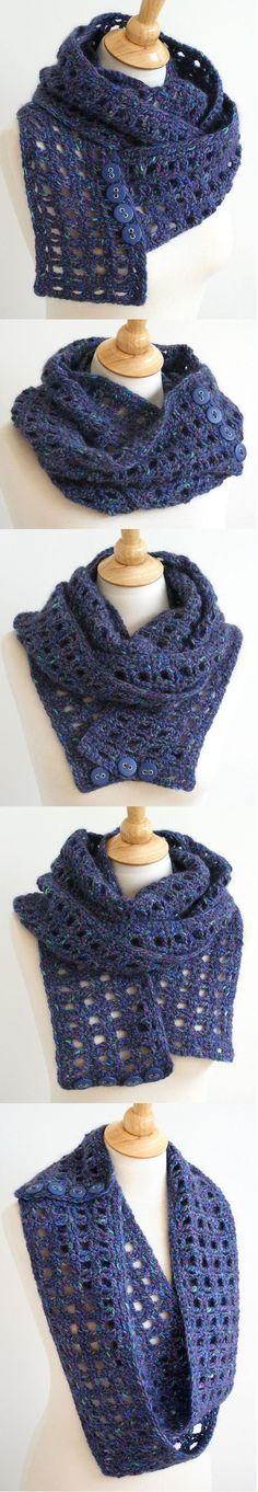 Esta es una inspiración para una bufanda crochet. La textura abierta presta una fluidez y flexibilidad a la tela. Los botones de un toque y versatilidad para la bufanda - usted puede abrocharse el pañuelo en un moebius o círculo, en cualquier lugar a lo largo de los lados de la bufanda o no. El pañuelo está diseñado para duplicar o triplicar lazo alrededor de su cuello / hombros.