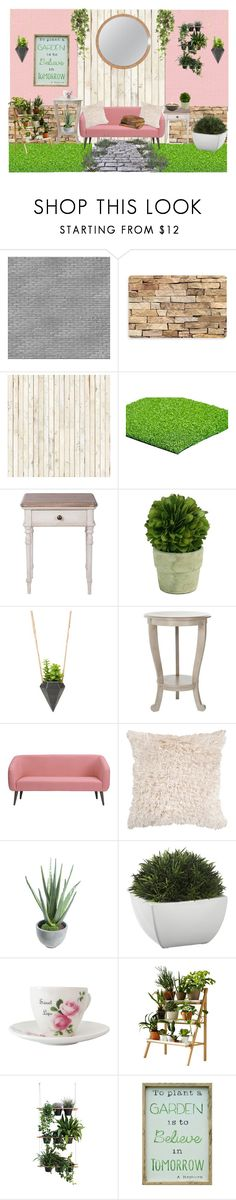 """""""Pinkish themed garden"""" by madeleinebabes ❤ liked on Polyvore featuring interior, interiors, interior design, home, home decor, interior decorating, NLXL, Bungalow Flooring, Mills Floral Company and Safavieh"""