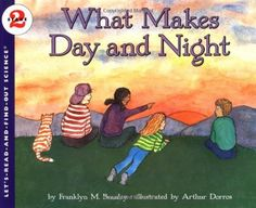 What Makes Day and Night by Franklyn M. Branley ~ Accompanied by NASA photographs and Dorros's colorful, lively drawings, the text explains the Earth's rotation in clear and simple terms. An experiment using a lamp as the 'sun' further clarifies the principles introduced. ~ http://www.amazon.com/dp/0064450503/ref=cm_sw_r_pi_dp_ZVyoqb07EE1CT