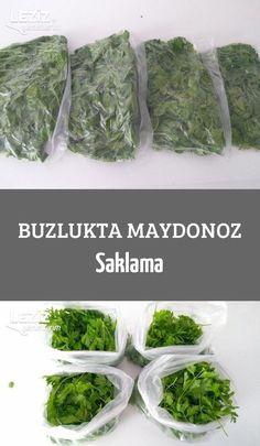 Buzlukta Maydonoz Saklama - Storage of Parsley in the Ice Cube Tray - i Armenian Recipes, Armenian Food, Deep Freeze, Ice Cube Trays, Parsley, Freezer, Asparagus, Kitchen Decor, Food And Drink