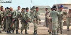 The Imam Hussein Division battalion rally area, the Imam's position , the Jufayr , area Khuzestan . The Imam Hussein Battalion heads for the Shatt- e-ali in Operation Badr. March 9,1985. Photo By Murteza Akbari  My Hero - on almfi http://fb.com/IrHeroes