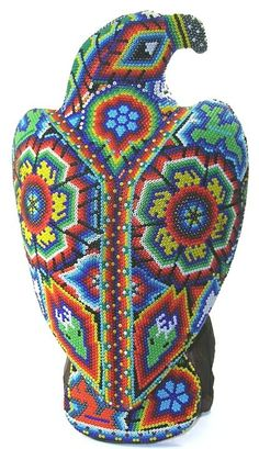 Eagle Huichol bead art