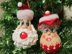 Mr and Mrs Santa Light Bulb Christmas Ornament
