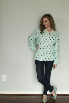 Modern Camelot: OOTD: Hearts, bows and pearls, oh my! Mint and black heart blouse from Forever21, dark skinny jeans, mint peep toe bow flats, mint and blue.
