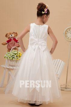 3ce2be6bdc1de Robe mariage enfant blanche col bateau à noeud papillon