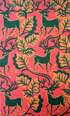 deer pattern on the cover of a vintage book   Flickr