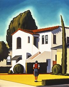 "Kenton Nelson, ""A Calculated Risk"", oil on panel  #kentonnelson #americanpainter #contemporaryart #oilpainting #architectural #anticipation #nervousgirl #waiting #spanishhouse #frontyard #bluesky #yellowlawn #greenshrubs"